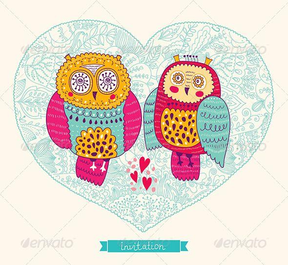 Vector wedding invitation with cute owls owl font logo and weddings vector wedding invitation with cute owls stopboris Choice Image
