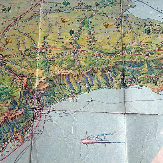 Crimean Peninsula Soviet vintage map Ukraine travel scheme Tourist