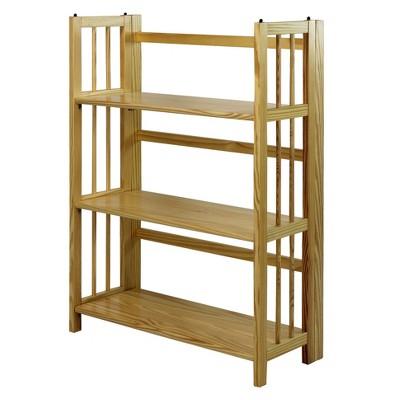 Folding 38 3 Tier Bookshelf Stackable Natural Shelves Wood Bookshelves Bookcase Storage