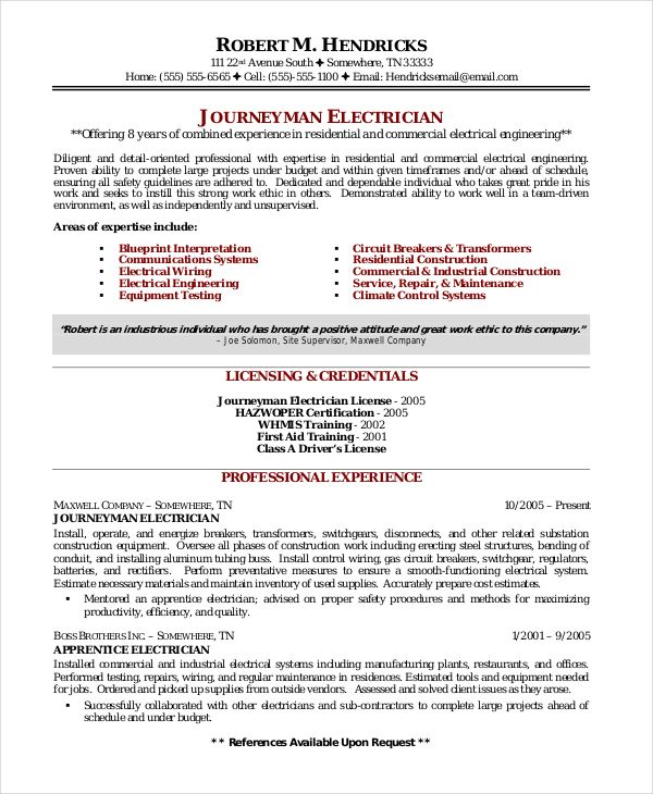Electrician Resume Template 5 Free Word Excel Pdf Documents Sample Resume Cover Letter Cover Letter For Resume Resume Template Examples