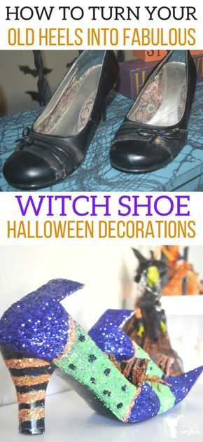 DIY Witch Shoes That Are Wickedly Cute For Halloween Costume ideas - halloween decorations on pinterest