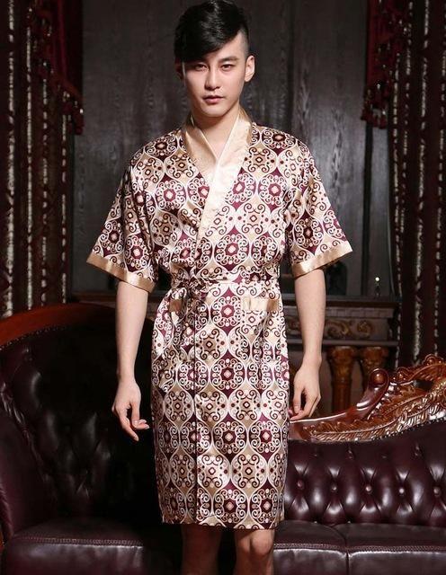 Long Satin robe male sleep & lounge faux silk bathrobe for man men ...