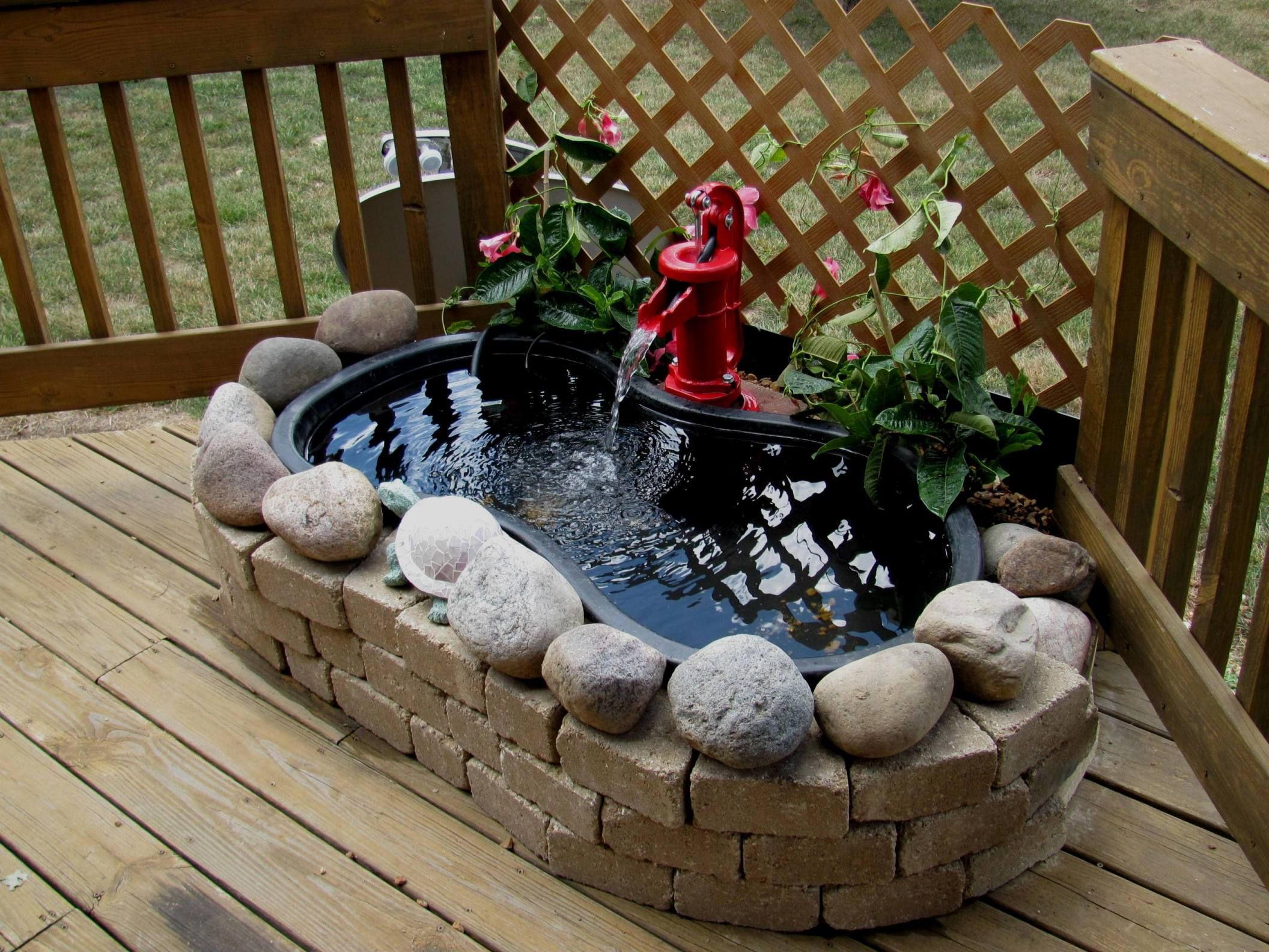 Deck pond a wife 39 s creation for the home pinterest for Garden decking with pond