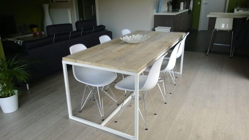 Tafel steigerhout met stalen frame | Pinterest | Finales, Mesas y ...