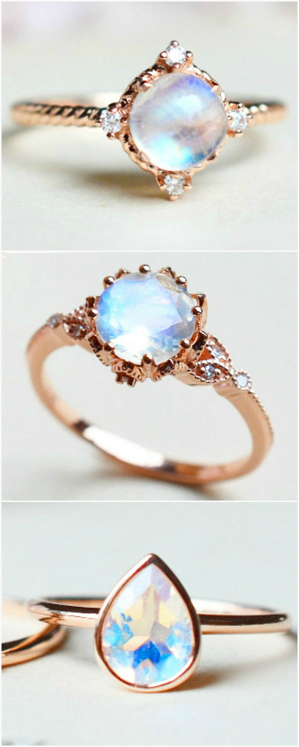 Beautiful Moonstone Engagement Rings Michelliadesigns On Etsy