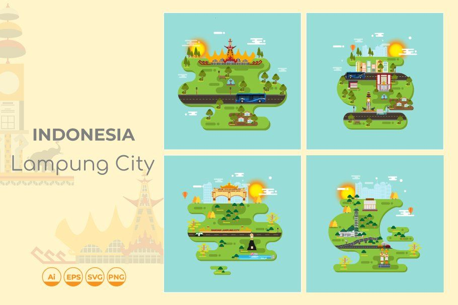 Lampung City Of Indonesia Vector City Icon Color Swatch Jakarta City