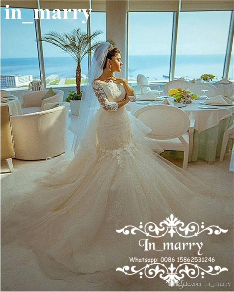 Romantic Vintage Lace Mermaid Arabic Wedding Dresses 2017 Trumpet ...