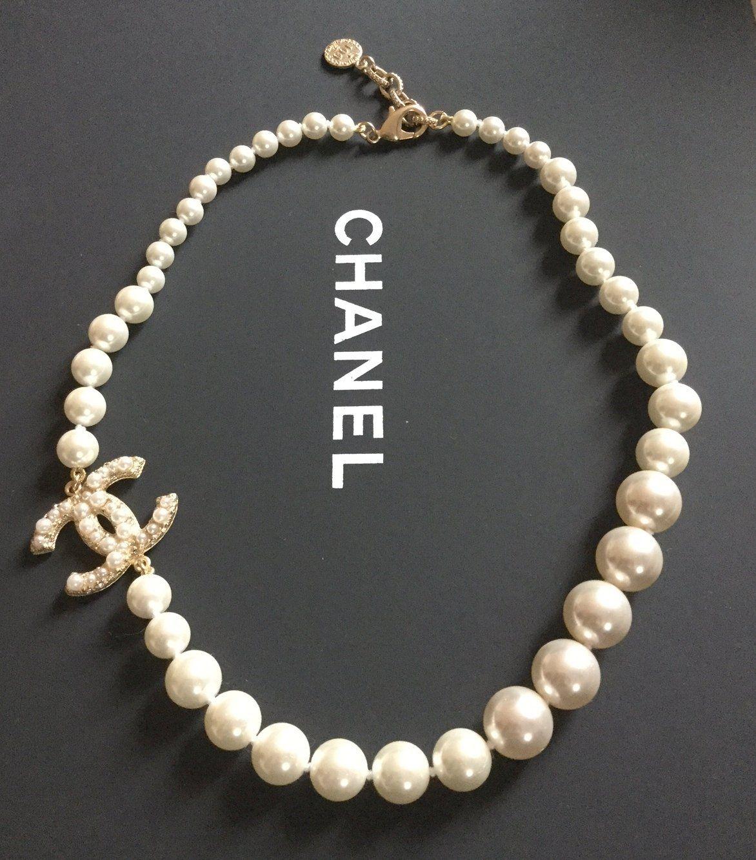 84e5838804257 CHANEL+Classic+CC+Gradual+PEARL+Necklace+Choker+100+Anniversary+Gold ...