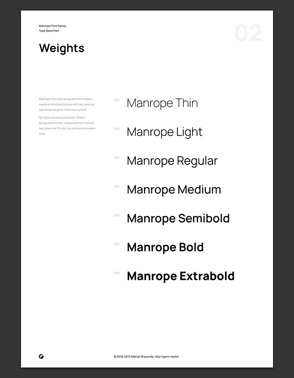 Manrope Modern Geometric Sans Serif Font Family Di 2020