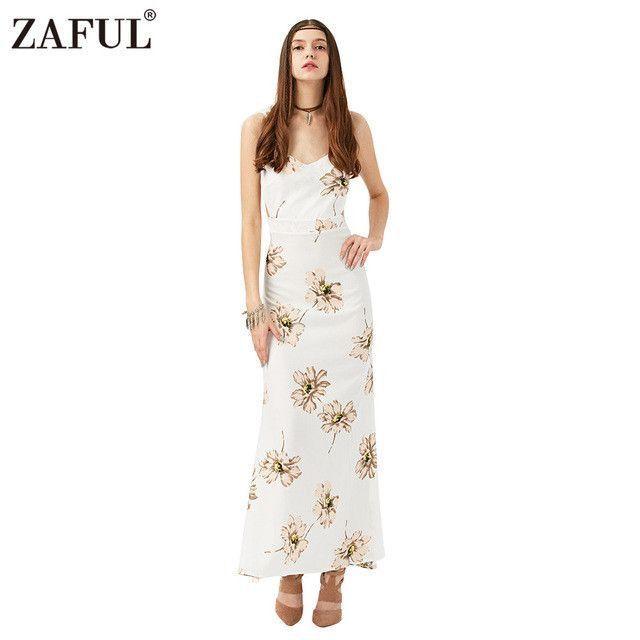 Brand New Summer Dress Bohemian Sleeveless V neck Women Floral Printed Sexy Spaghetti long Beach Maxi Dresses Vestidos