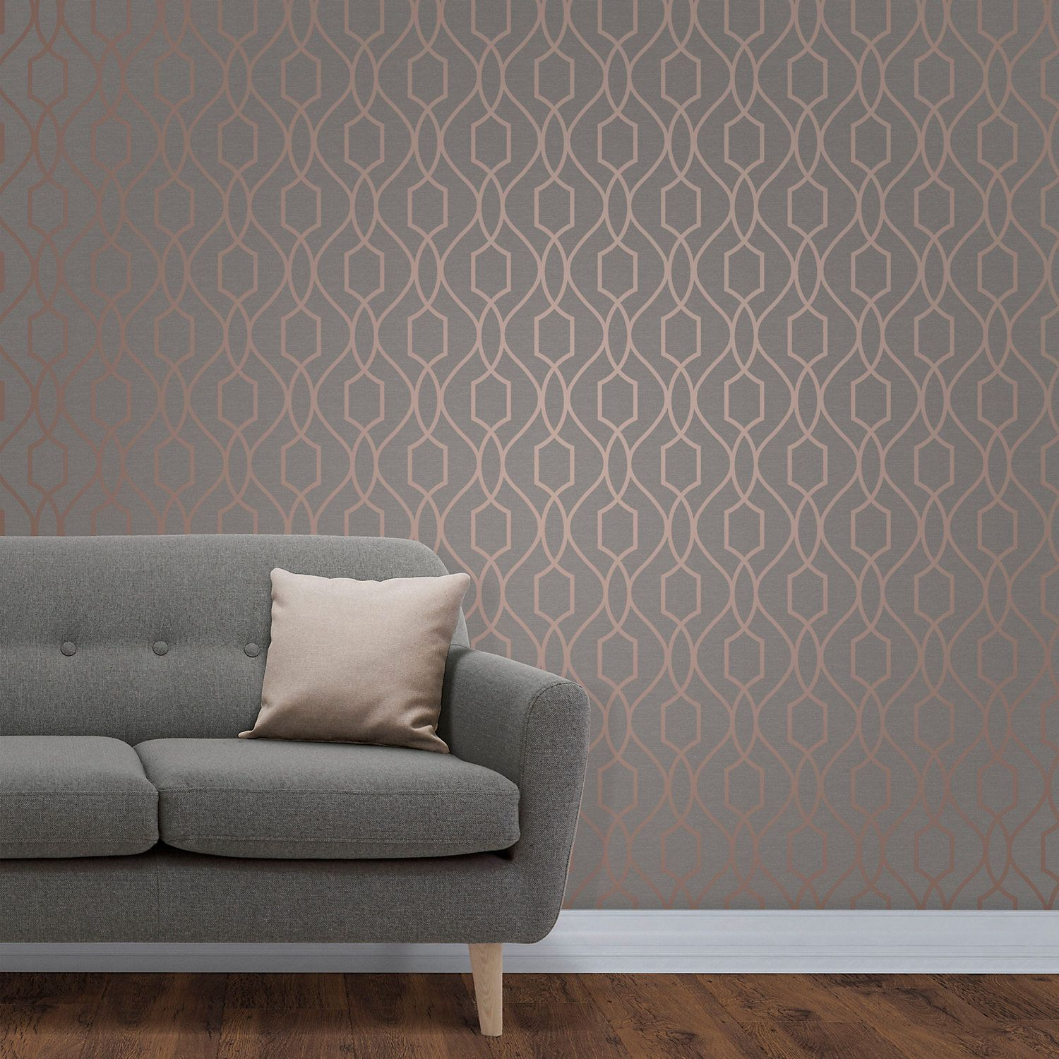 Fine Decor Grey Copper Effect Geometric Wallpaper Lounge In 2019