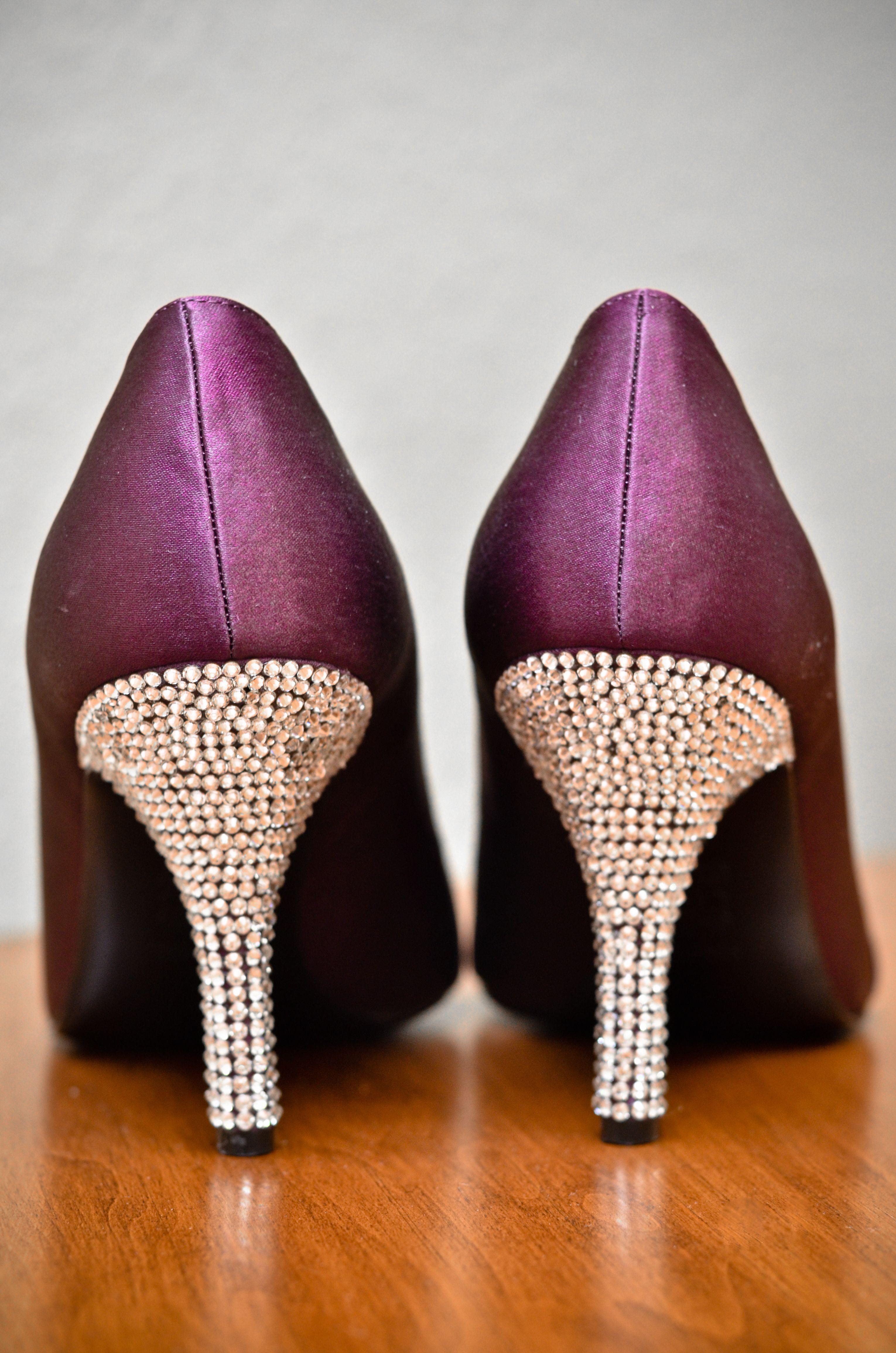 ed14af42f45b Heels are encrusted in swarvoski crystal she hand glued  3 Purple wedding  shoes swarvoski wedding shoes purple peep toe pumps