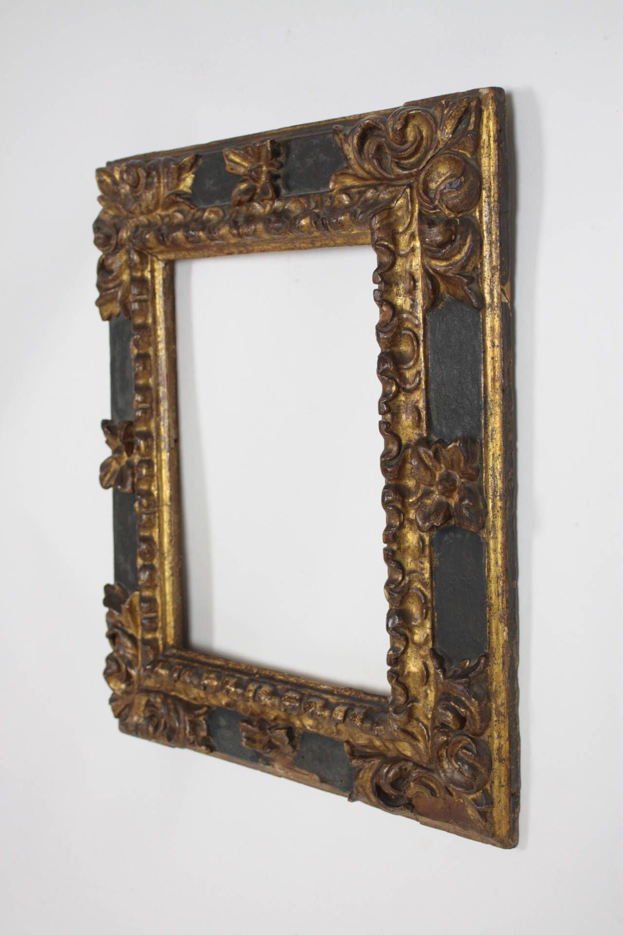 17th Century Spanish Baroque Polychromed Carved Wood Gold Leaf Frame ...
