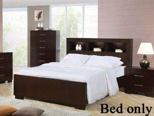 California-King-Size-Bed-with-Shelf-Headboard-in-Cappuccino-Finish-0 ...
