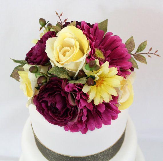 Wedding Cake Topper Sangria Yellow Rose Gerbera Daisy Silk Silk Flower Cake Topper Flower Cake Toppers Wedding Cakes With Flowers