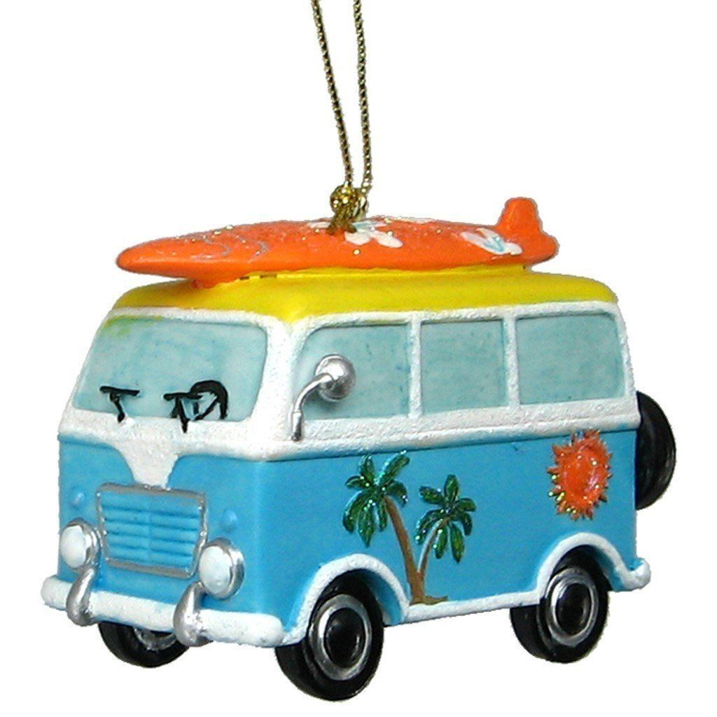 29910b13d0 Beach Van Ornament with Surfboard On Roof Rack Hanging Ornament in ...
