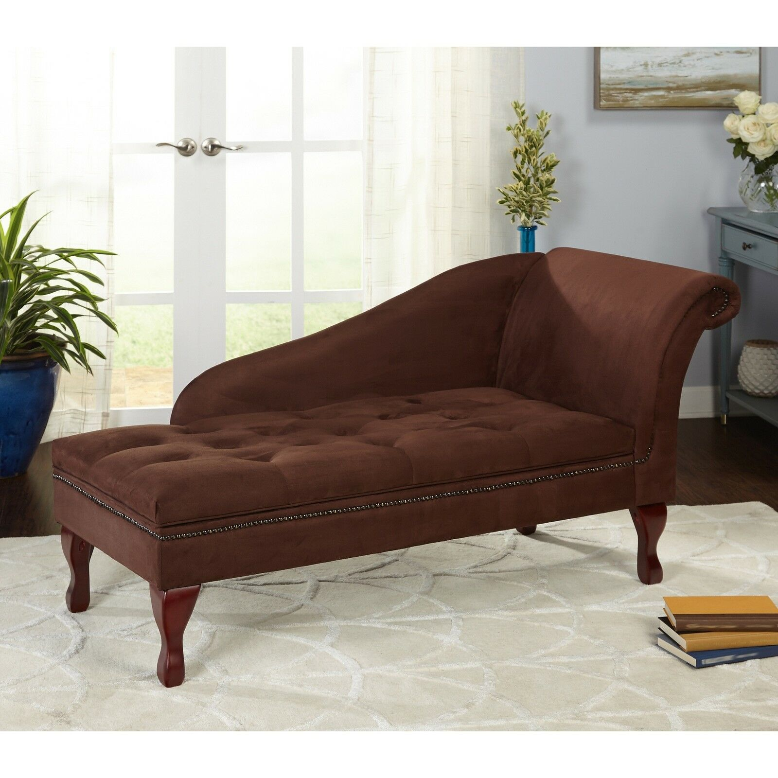 Brown Chaise Lounge Chair Seating Tufted Cushion Home Living Room