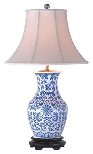 East enterprises lpdglb1014e table lamp blue white east https