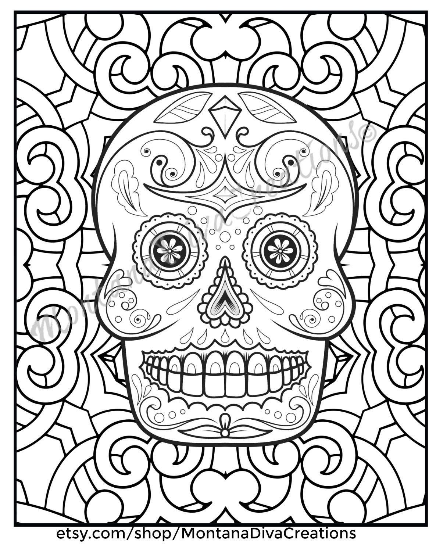 Halloween Day Of The Dead Sugar Skull Mandala Coloring