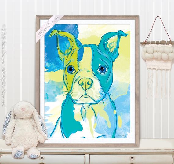 Goofy Terrier Puppy Print Watercolor Vibrant Terrier Painting
