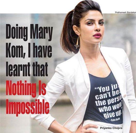 Mary Kom . Priyanka chopra quotes, Priyanka chopra, Best