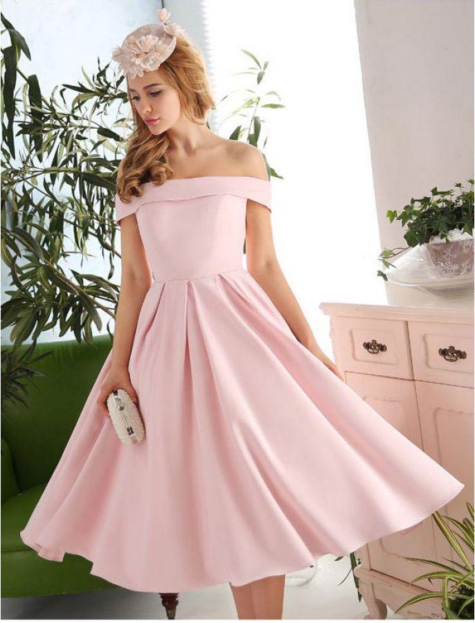 Off the Shoulder Pink Vintage Dress   Evening & Prom Dresses ...