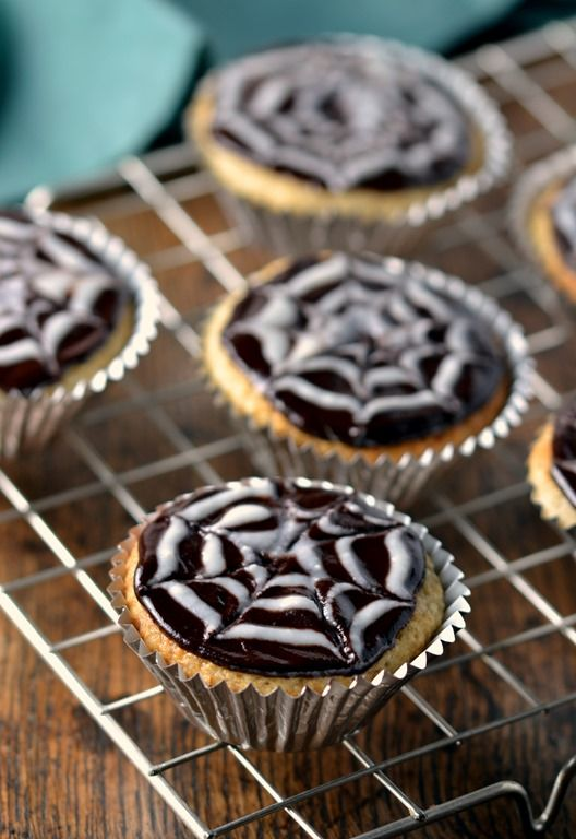 Spooky Spider Web Coconut Cupcakes With Chocolate Ganache Vegan