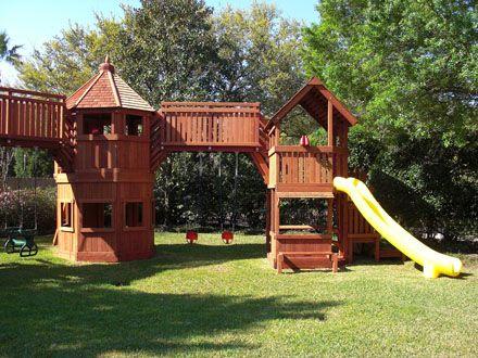 Offering Custom Redwood And Cedar Playsets And Swing Sets Custom Playset Fort Design In Houston Columbus Round T Diy Playground Backyard Playground Backyard