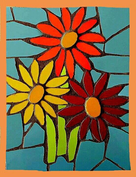 Flores con mosaicos   Dessin   Pinterest   Mosaics, Mosaic flowers ...
