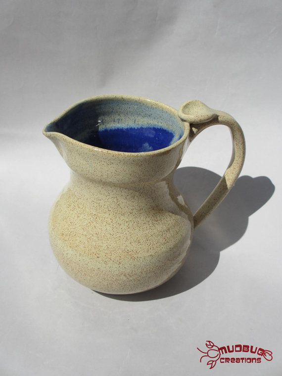 Large Pitcher  Ceramic Speckled Tan and Blue by MudbugCreations, $30.00