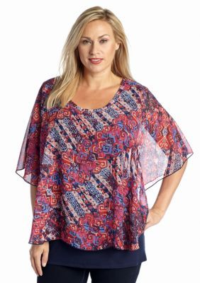 New Directions  Plus Size Ikat Print Woven Top