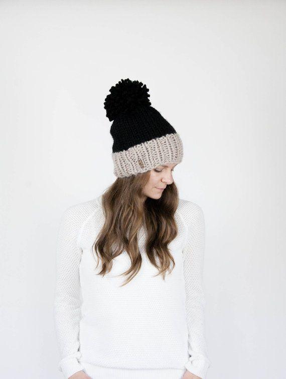 Punto Slouchy sombrero bicolor con Pom Pom la SYLVAN / negro y lino ...