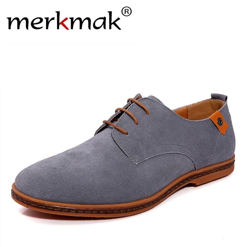 746878b97b186 New 2018 Fashion Men Shoes Suede Leather Casual Flat Shoes Lace-up Men s  Flats for