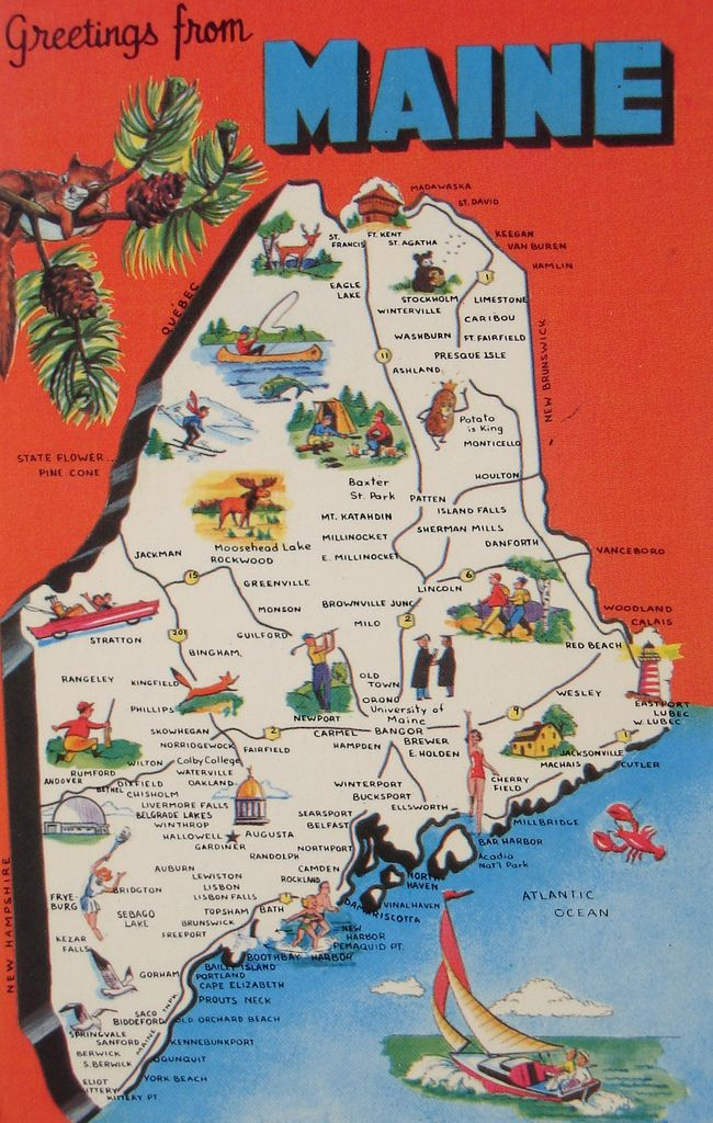 Greetings From Maine Map Postcard Travel Posters Road Trips And - Maine road map