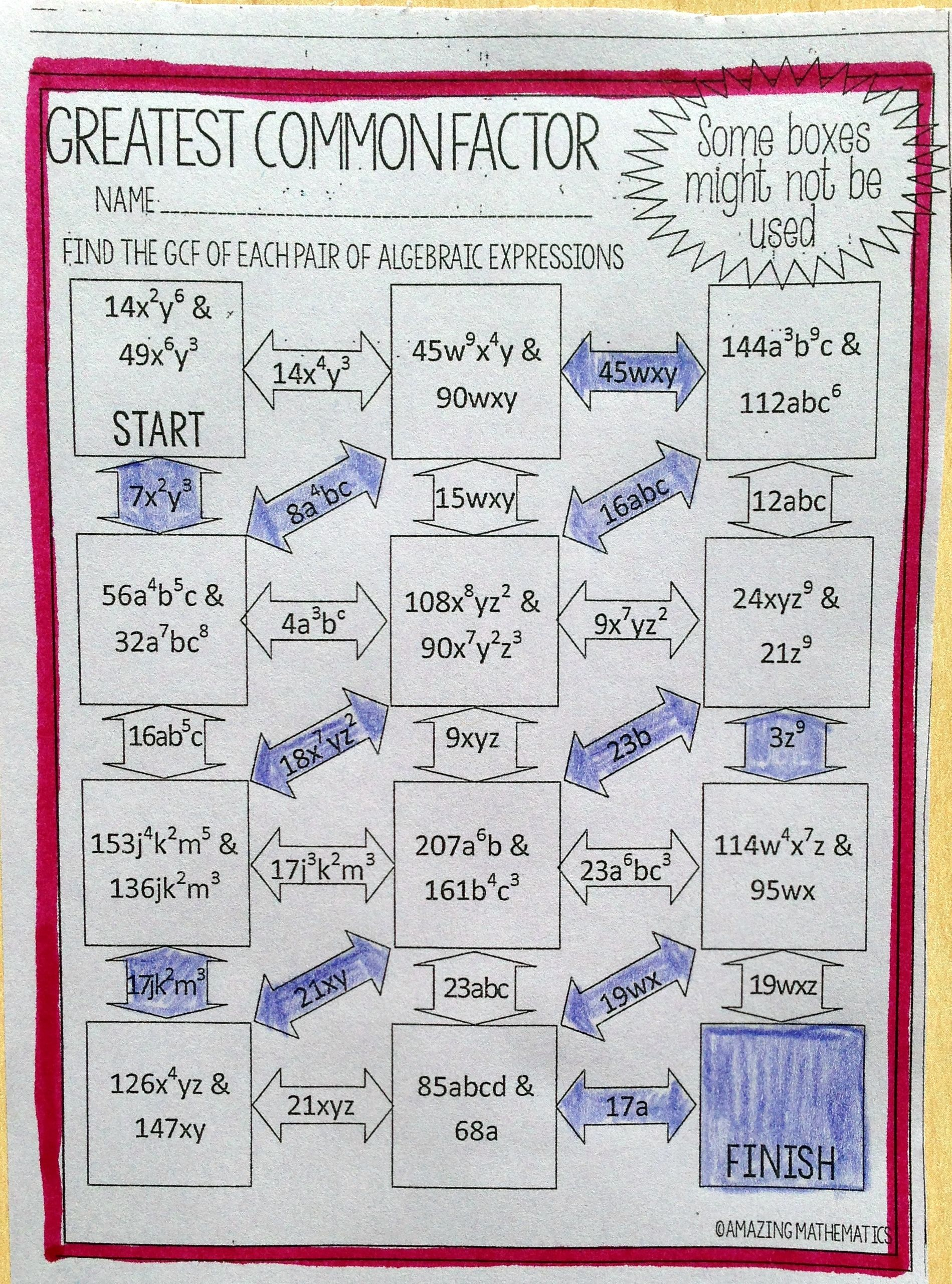 hight resolution of My Algebra students LOVED this GFC Maze worksheet. This was the perfect way  to review Grea…   Algebraic expressions