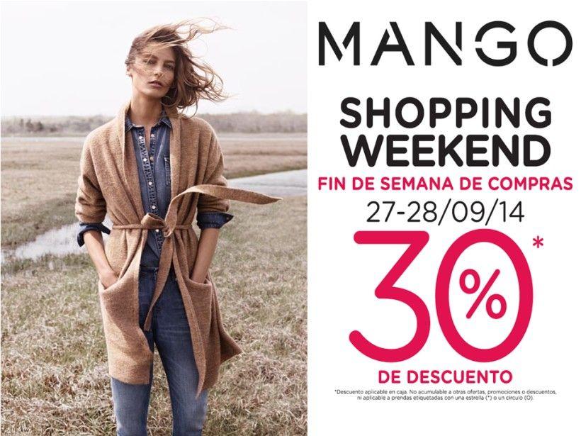 Este fin de semana MANGO nos invita a disfrutar del shopping weekend con 30% de descuento. Aplican restricciones.