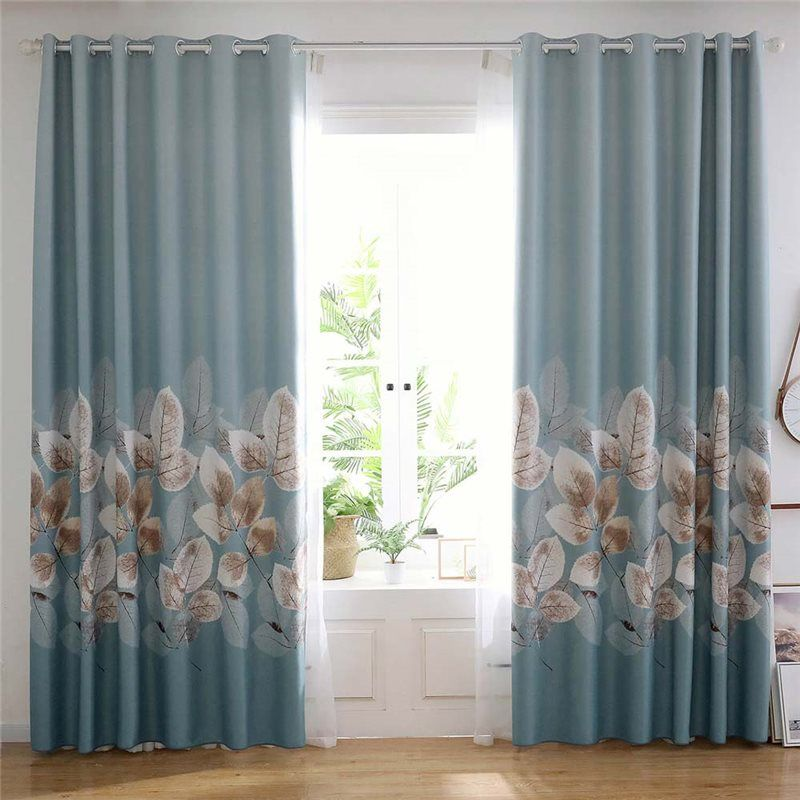 Fresh Leaf Printed Curtain Modern Thick Curtain Living Room Bedroom Office Fabric One Panel Living Room Decor Curtains Curtains Living Room Girl Bedroom Decor