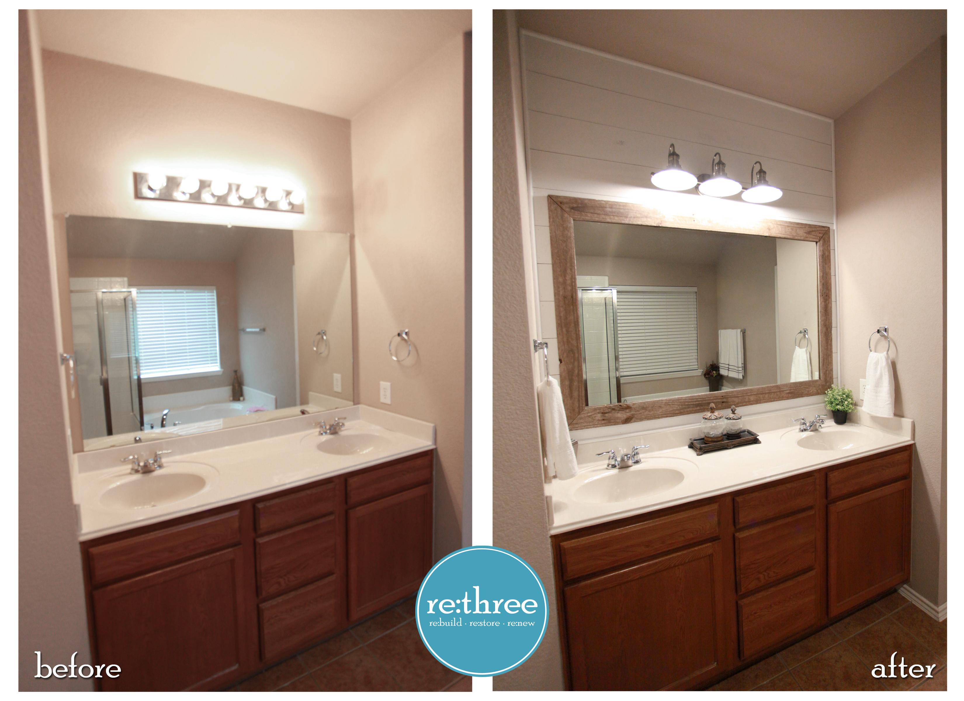 Farmhouse Bathroom Remodel With Shiplap Backsplash And Reclaimed Wood Framed Mirror Modern Backsplash Stone Backsplash Kitchen Cheap Backsplash Tile