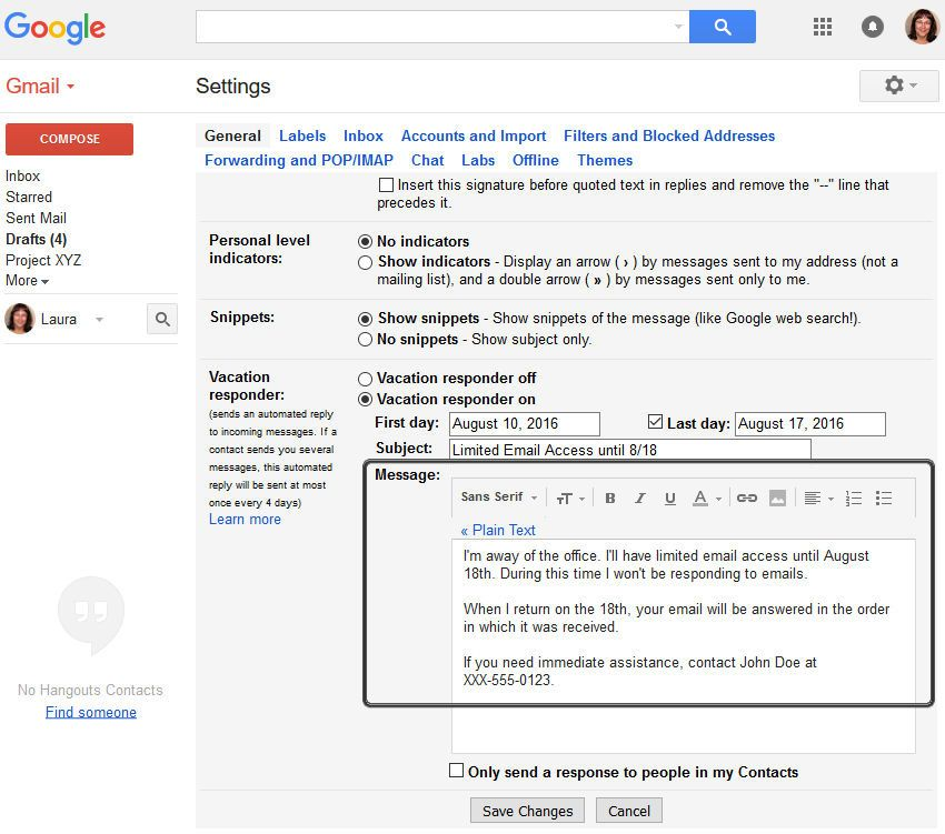 How To Set Up A Gmail Out Of Office Vacation Responder Email