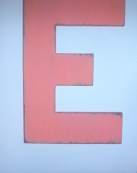 Wooden Letters Block Style  Inch Large Letter E Painted Tropic