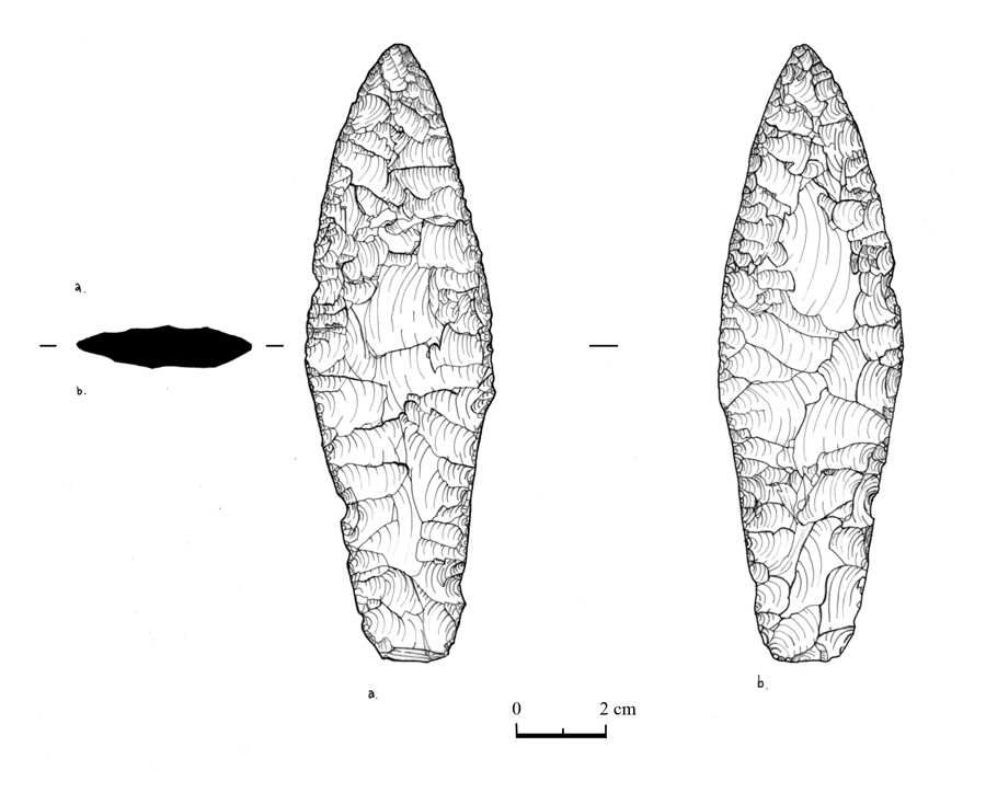 Flint Dagger excavated at Mellor, rotring pen illustraion. see -http://www.mellorarchaeology-2000-2010.org.uk/archaeology/finds/bronzeagedagger.htm