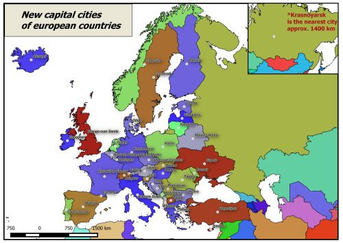 If Every European Country Would Choose Its Capital City To Be - Map of europe with capital cities