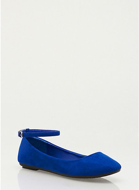 Ankle Strap Ballet Flats in Royal Blue