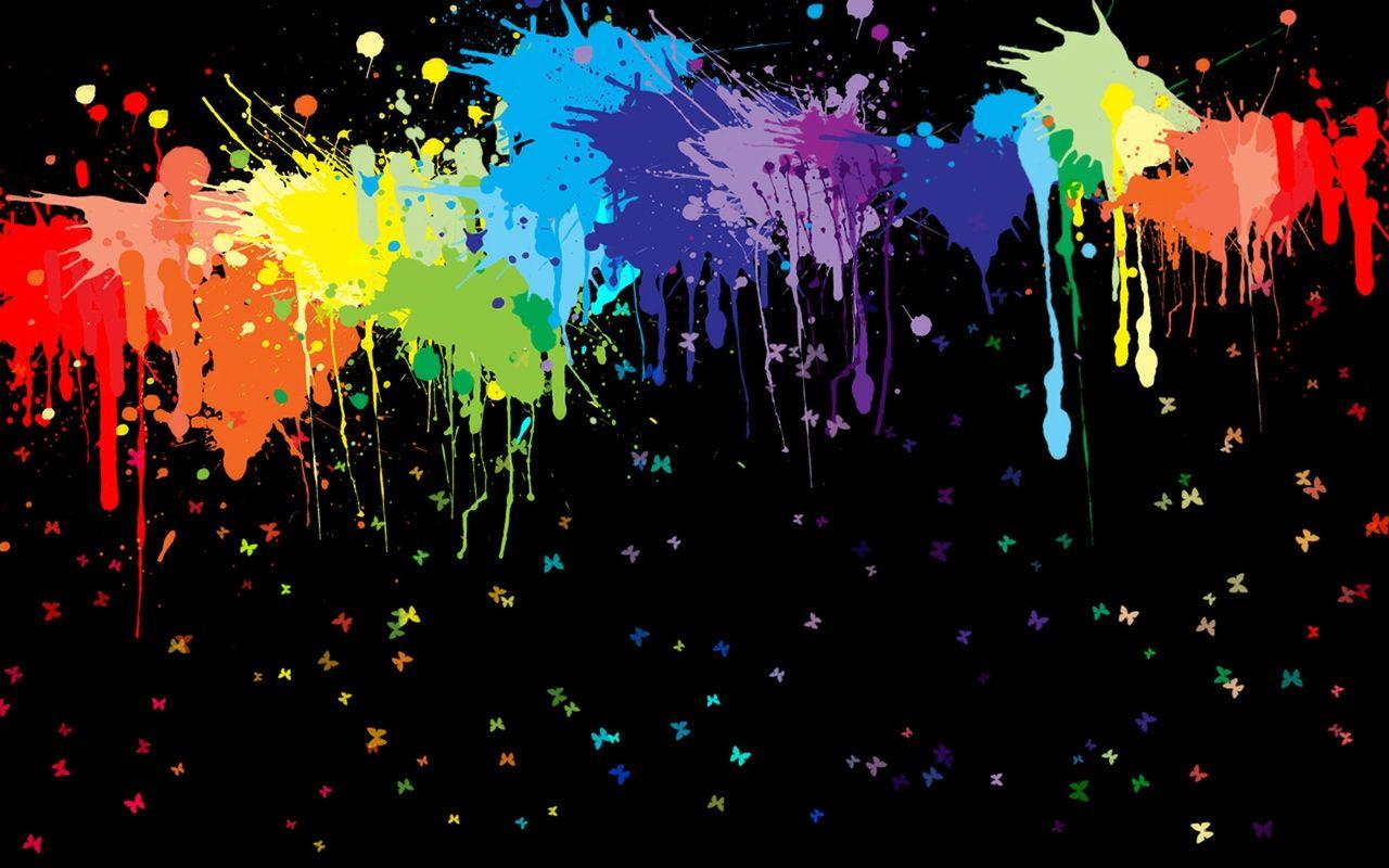 Neon Paint Splatter Wallpaper Hd Wallpaper Spandex Paint Paint Splatters Green Splatter Paint Neon Black C Rainbow Painting Rainbow Wallpaper Art Wallpaper