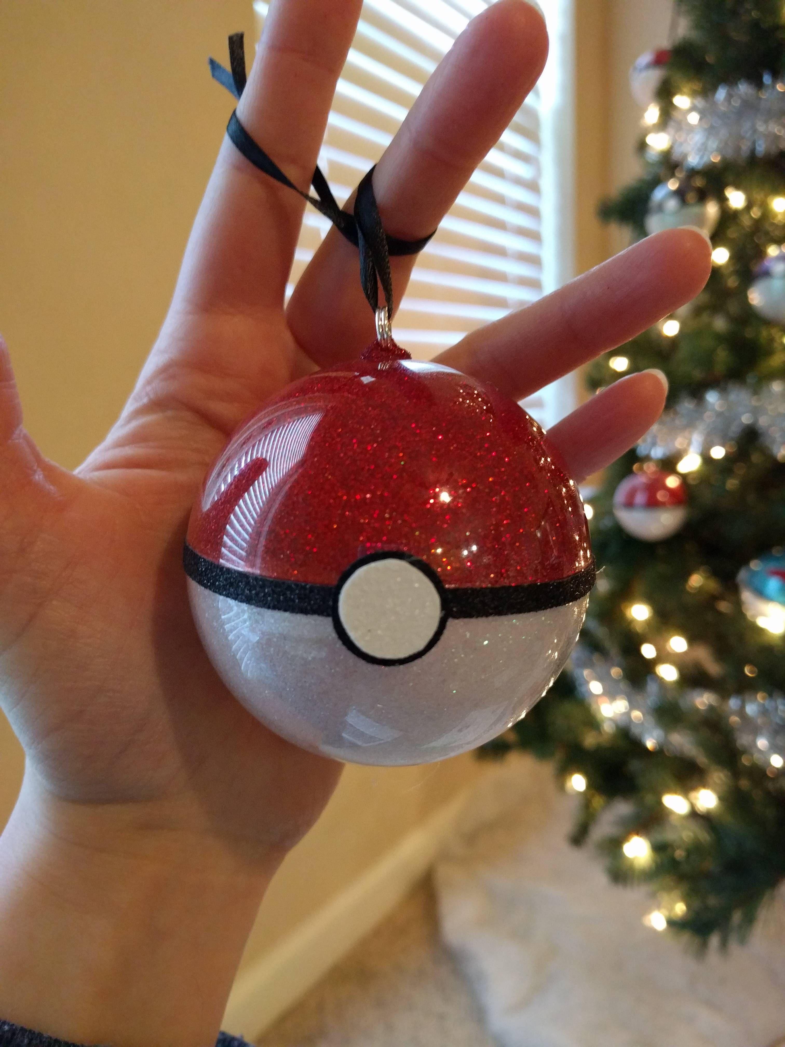 Poke Ball Ornament Tutorial Christmas Ornament Crafts Pokemon Christmas Ornaments Geek Christmas