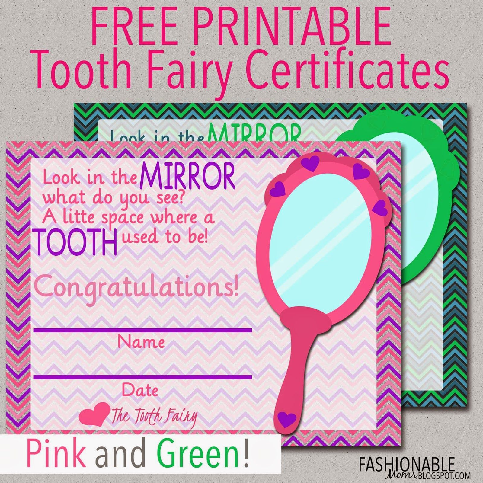 free printable tooth fairy certificates kids