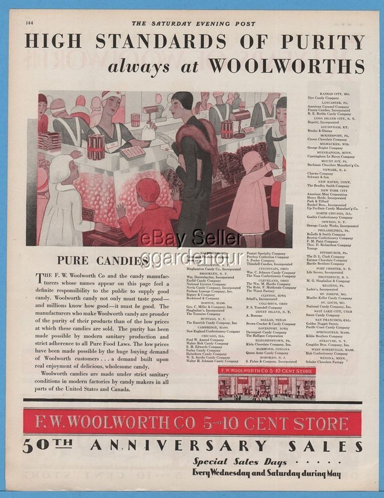 1929 F. W. Woolworth Co 5 10 Cent Store Candy Counter 1920\'s Art ...