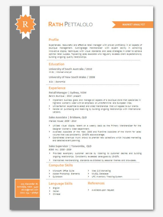 Modern Microsoft Word Resume Template Ratih Pettalolo by Inkpower