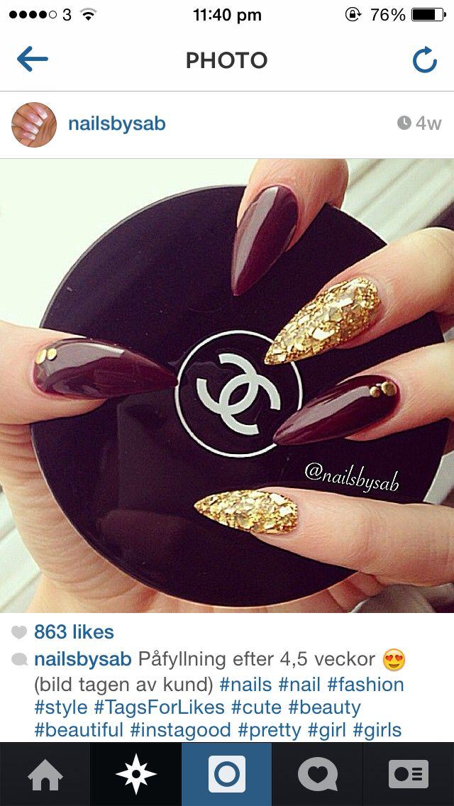 Nail Pointy Burgundy Gold Stilletto Long Stiletto Nails Pointy Nails Furry Nails