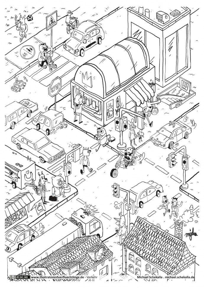 stadtverkehr wimmelbild  verkehrserziehung grundschule